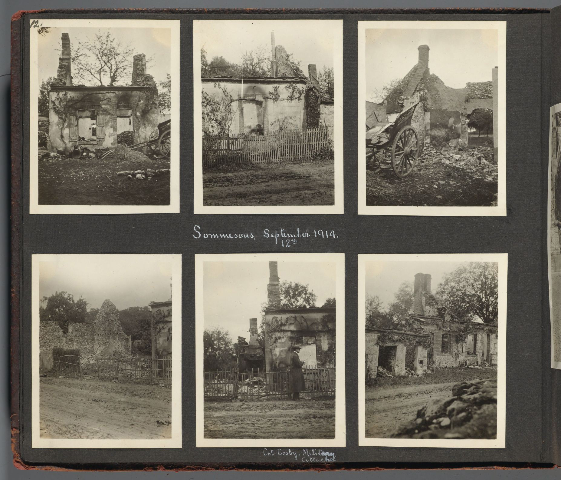 Bombed buildings at Sommesous, September 12, 1914.