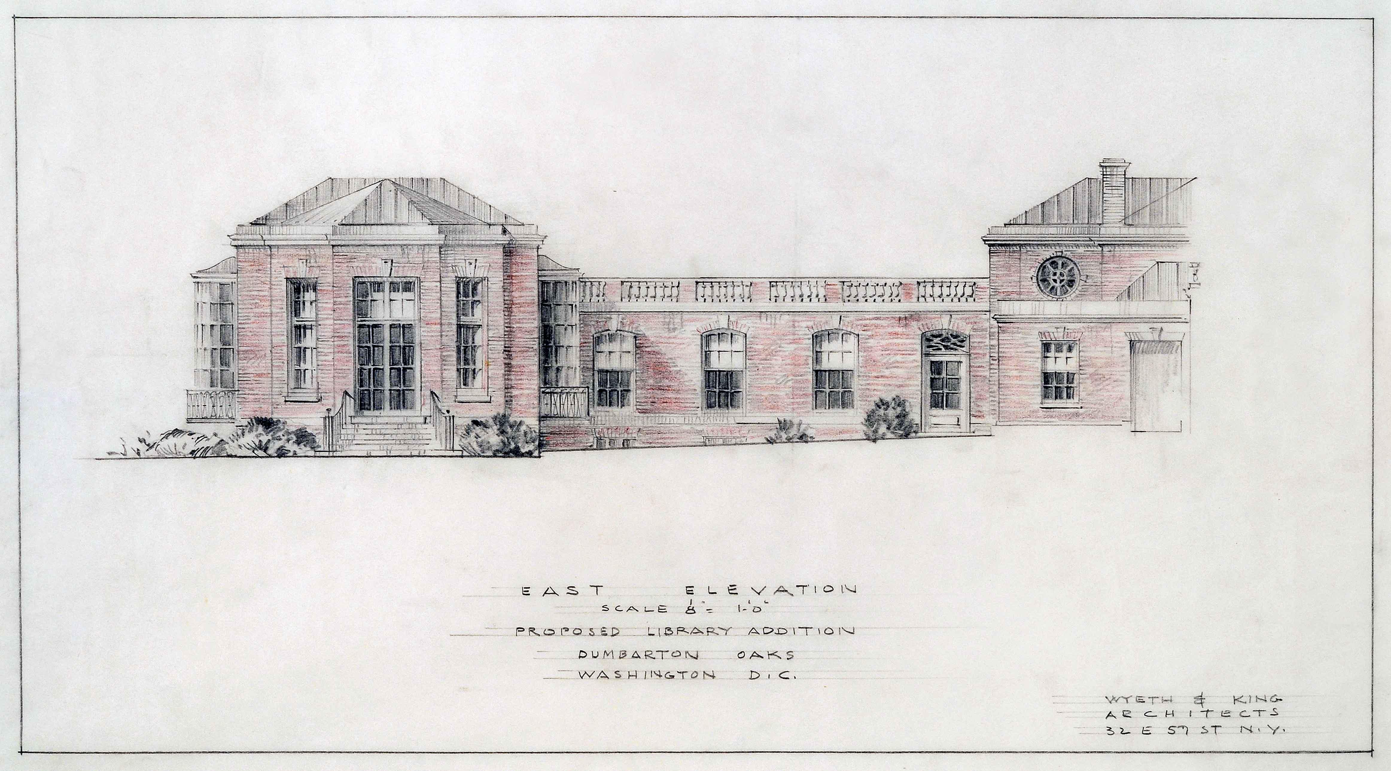 Frederic Rhinelander King, East Elevation. Dumbarton Oaks Archives, AR.AD.MW.GL.001