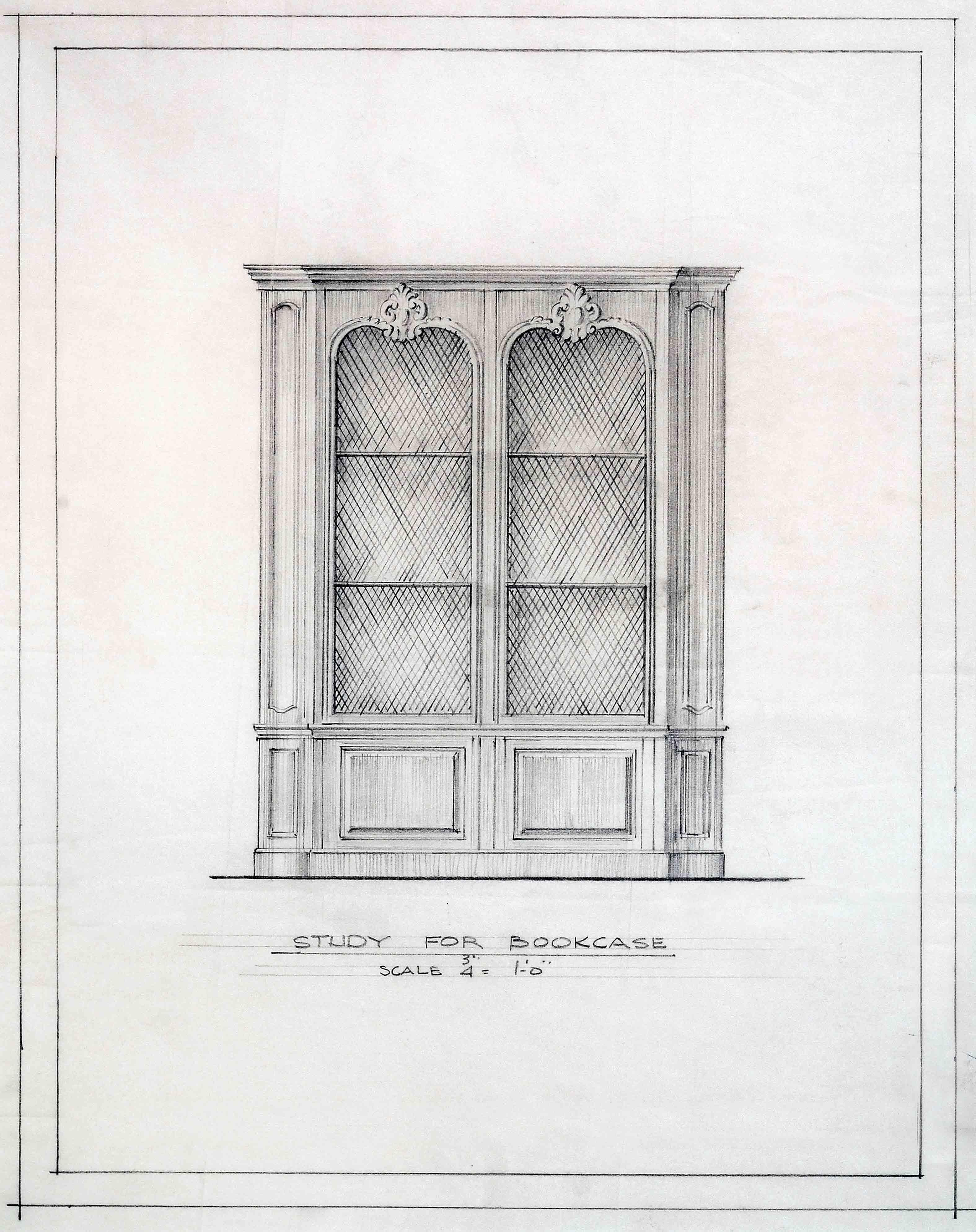 Frederic Rhinelander King, Study for Bookcase Design. Dumbarton Oaks Archives, AR.AD.MW.GL.003