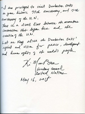 Guest Book Page Signed by United Nations Secretary General Ban Ki-Moon (AR.OB.Misc.067)