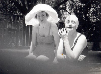 Mildred Bliss and Friend at the Dumbarton Oaks Swimming Pool. AR.PH.Misc.027