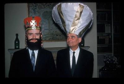 John Zizoulas as the emperor Andronikos II Palaiologos and Paul Underwood as Theodore Metochites. Dumbarton Oaks Archives, AR.PH.Misc.226.