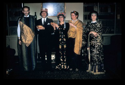 """The """"Ravenna Group:"""" Ernst Kitzinger as Justinian, Arthur H.S. """"Peter"""" Megaw (Byzantine Visiting Scholar) wearing Justinian's crown, his wife Electra Megaw as Theodora, and Susan Kitzinger and Jelisaveta """"Seka"""" Allen as attendants in Theodora's retinue. Dumbarton Oaks Archives, AR.PH.Misc.228."""
