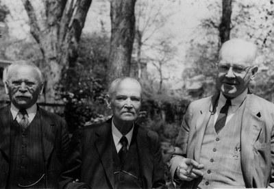 Michael Rostovtzeff, Alexander Vasiliev, and Charles Rufus Morey, ca. 1944. AR.PH.Misc.266.