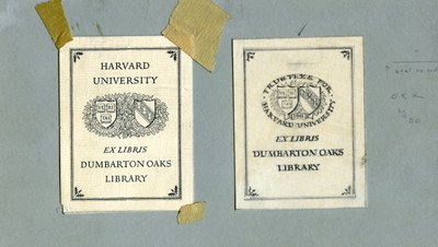 Original bookplate (1941–1955) and re-designed bookplate prototype (1955). Dumbarton Oaks Archives.