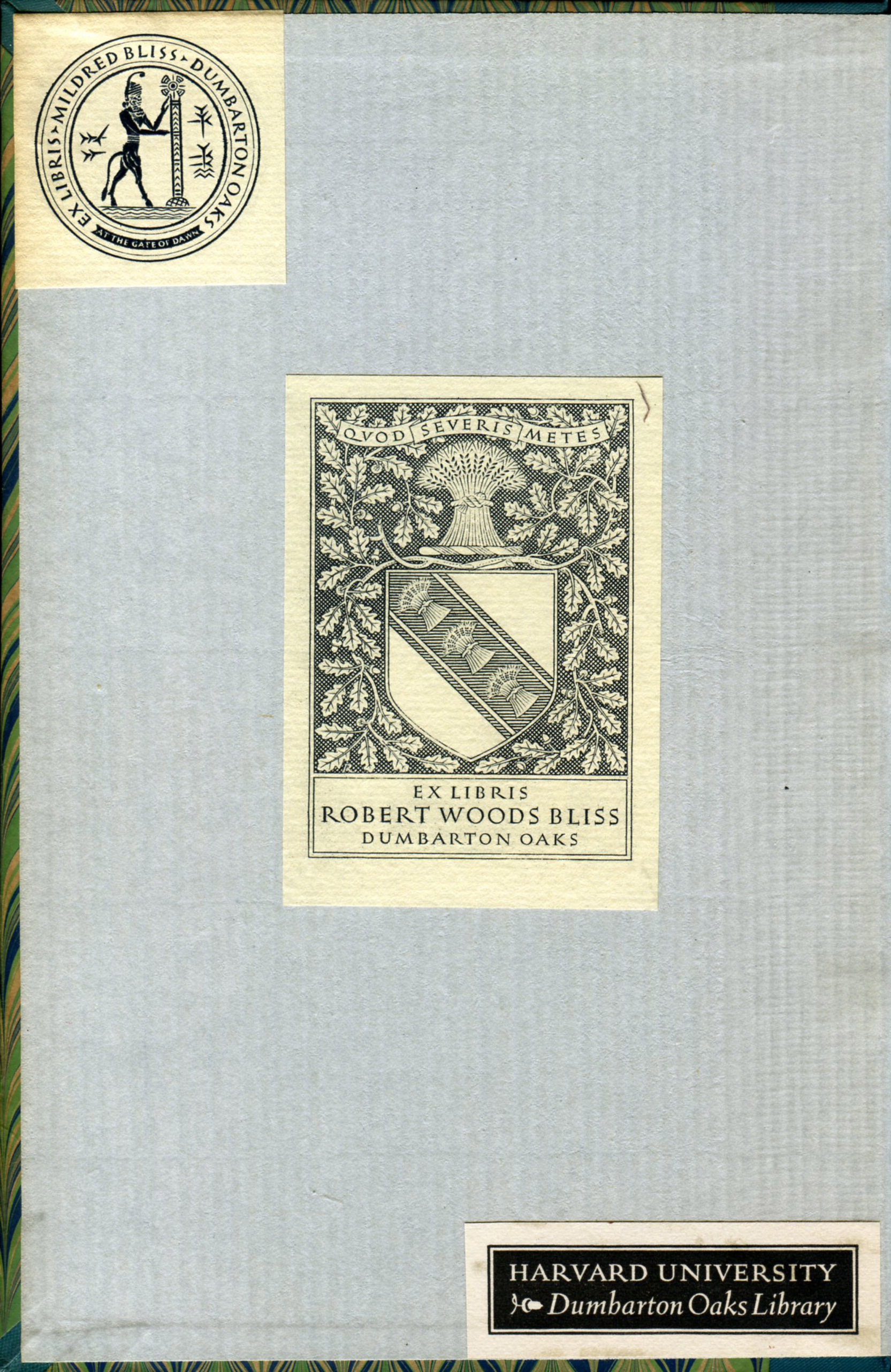 Book endpaper with the bookplates of Mildred Bliss, Robert Woods Bliss, and Harvard University – Dumbarton Oaks Library.