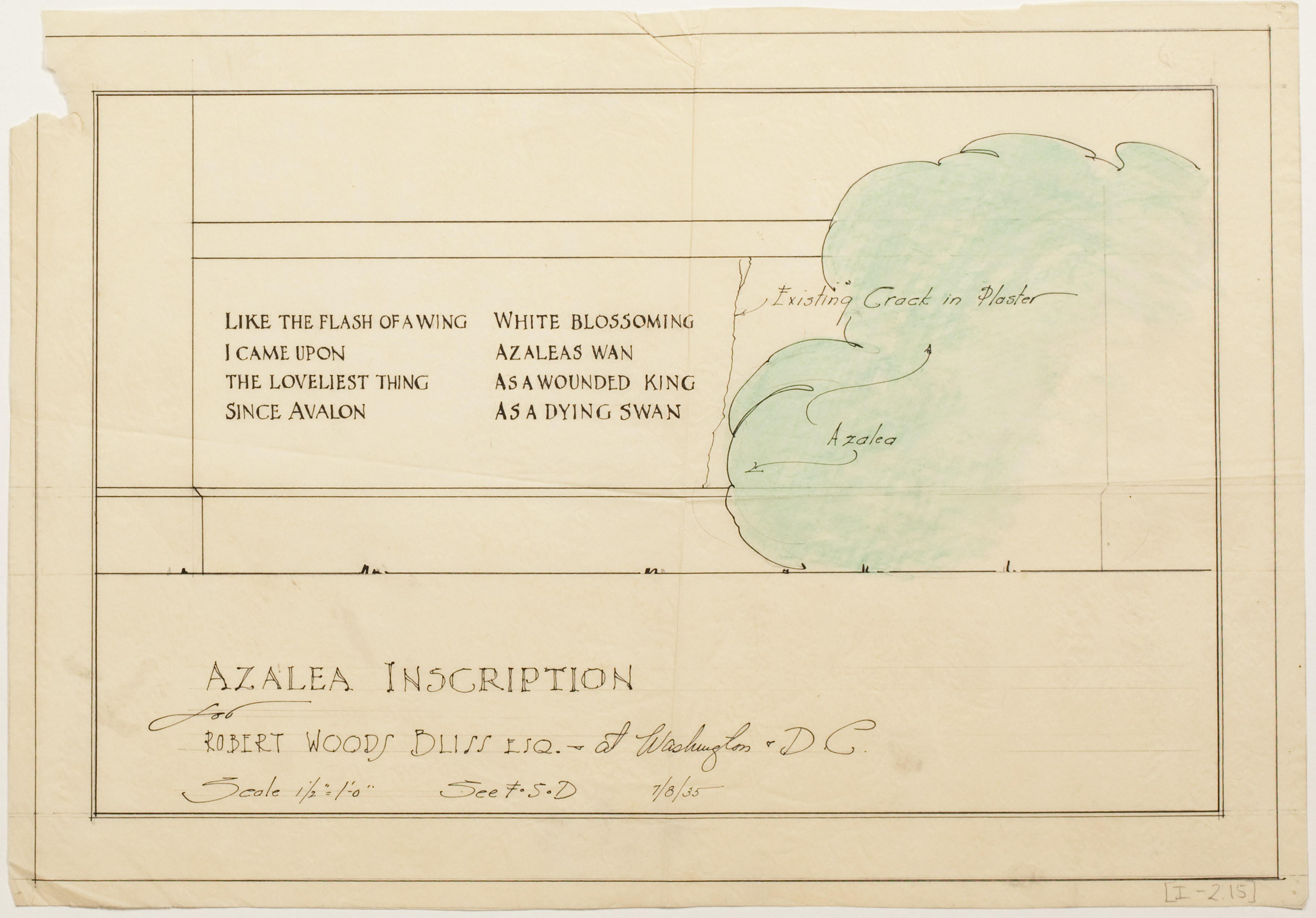 Azalea Inscription (Model for the Full Scale Drawing), Garden Archives, GD I-2-15.