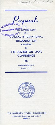 Proposals for the Establishment of a General International Organization
