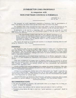 Dumbarton Oaks Proposals in comparison with Non-Partisan Council's Formula