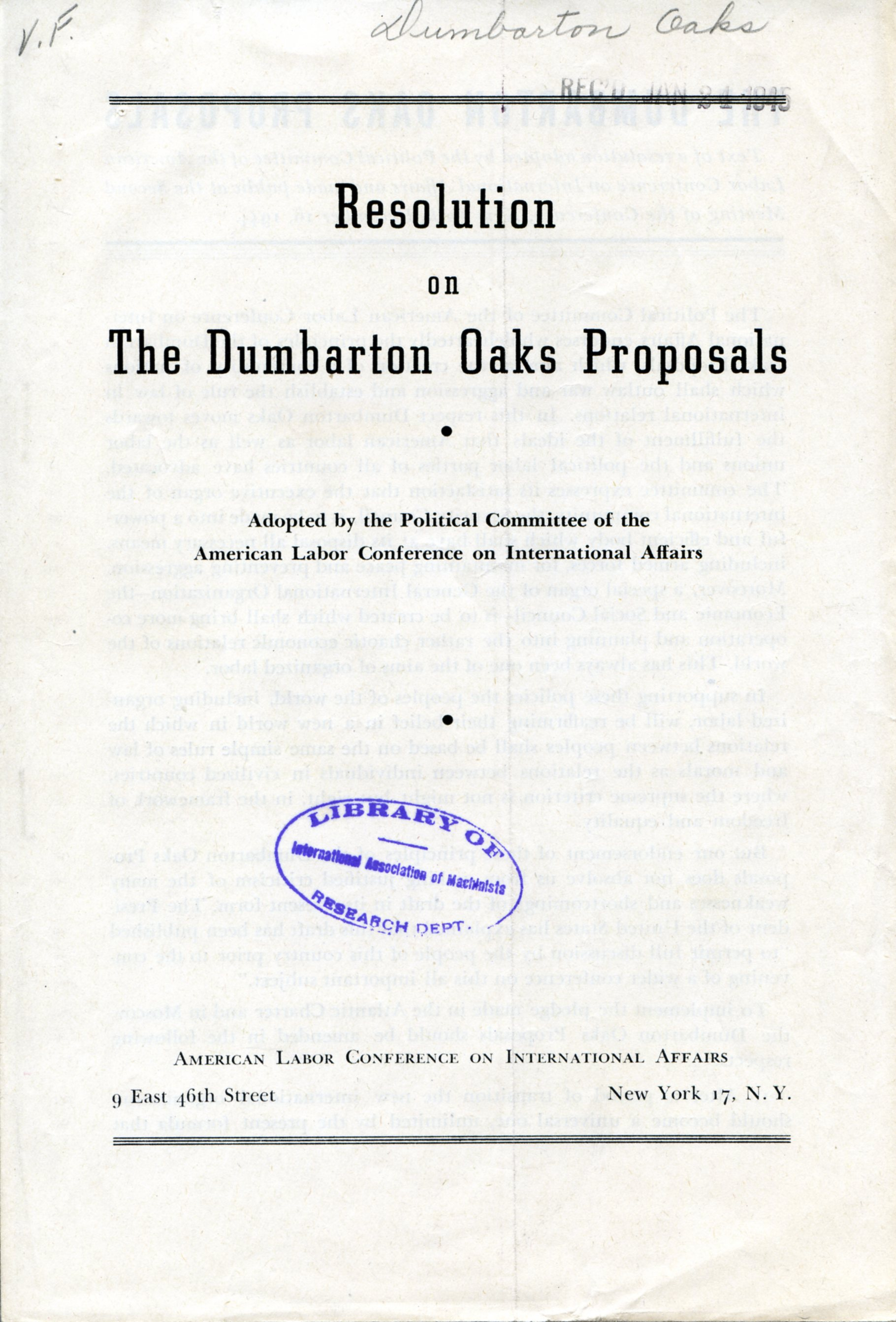 Resolution of the Dumbarton Oaks Proposals