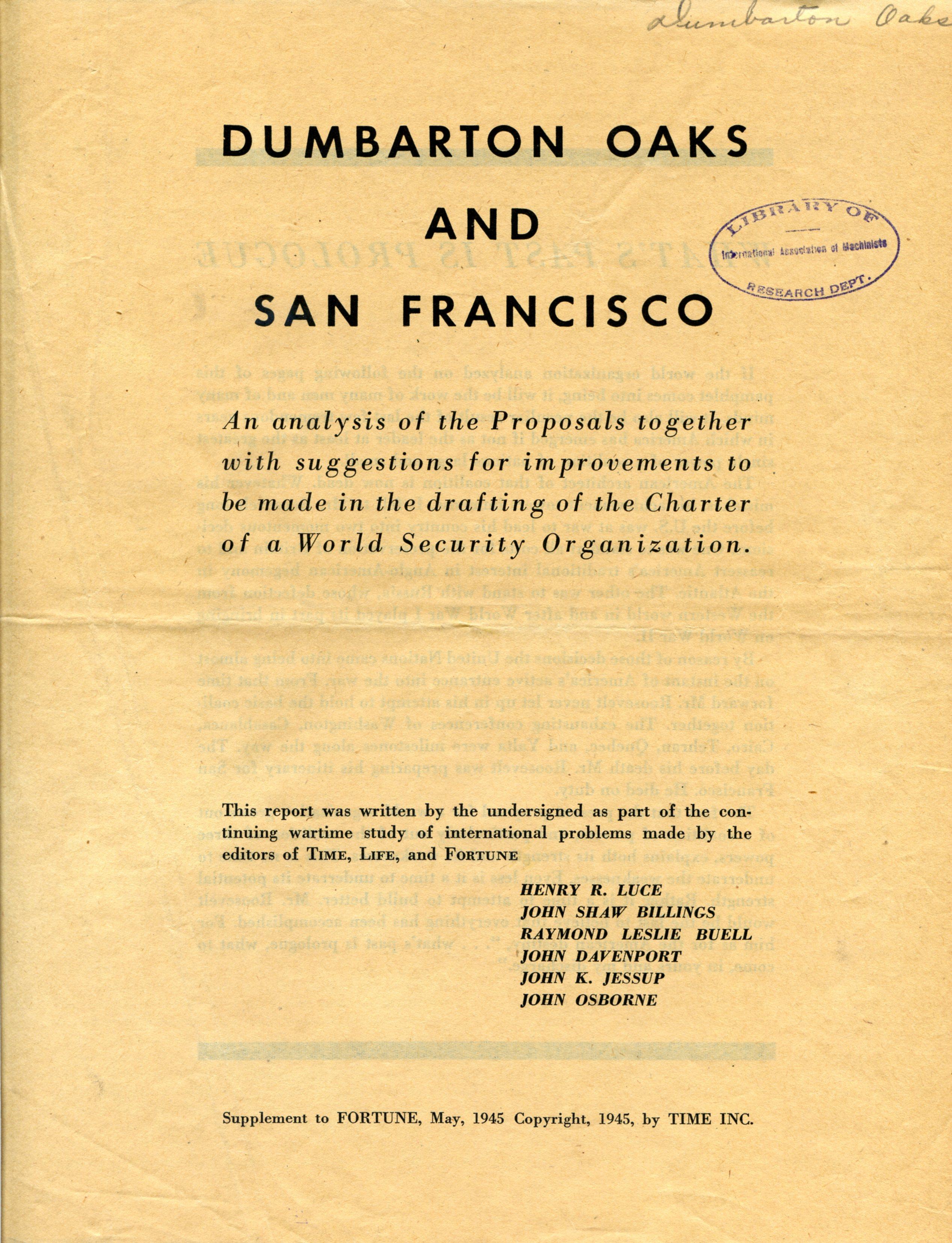 Dumbarton Oaks and San Francisco, An Analysis of the Proposals