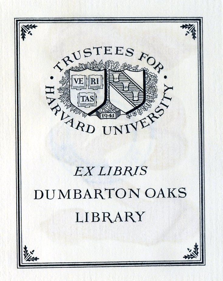 Dumbarton Oaks 1955 Ex Libris Bookplate