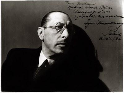 Igor Stravinsky, photograph by , ca. 1936. Inscribed: Pour Madame Robert Woods Bliss témoignage d'une sympathie très respectueux Igor Stravinsky Paris Avril / 36.