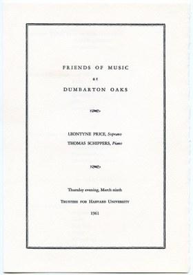 Leontyne Price Concert at Dumbarton Oaks