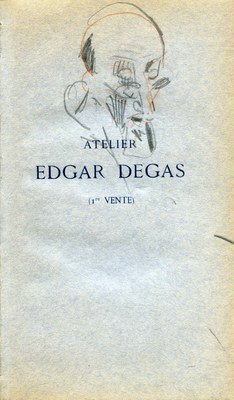 Drawing by Paul César Helleu on the front flyleaf of the Bliss copy of Atelier Edgar Degas (1re Vente).