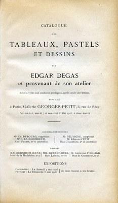 Title page of the catalogue Atelier Edgar Degas (1re Vente).