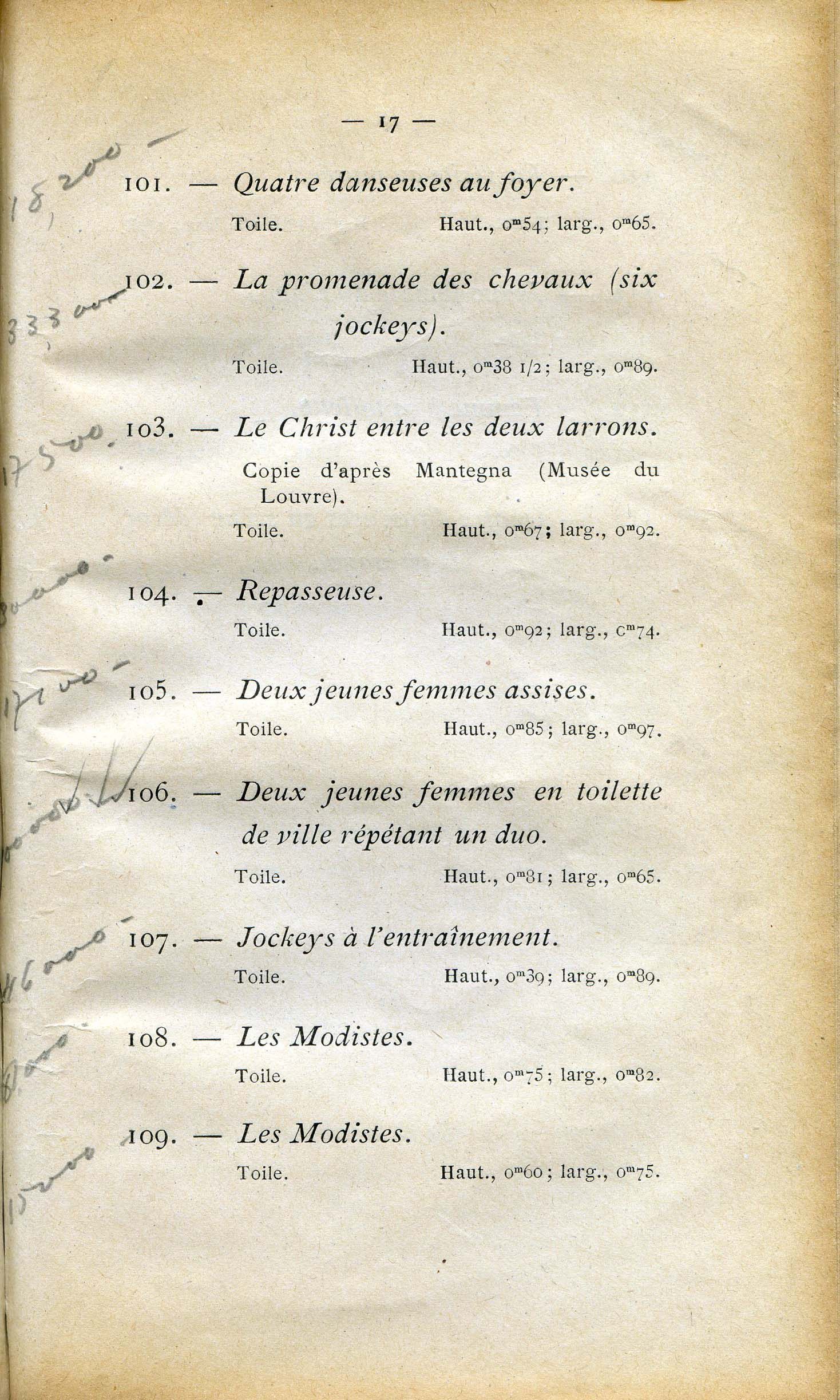 Annotated catalogue page with no. 106, The Song Rehearsal.