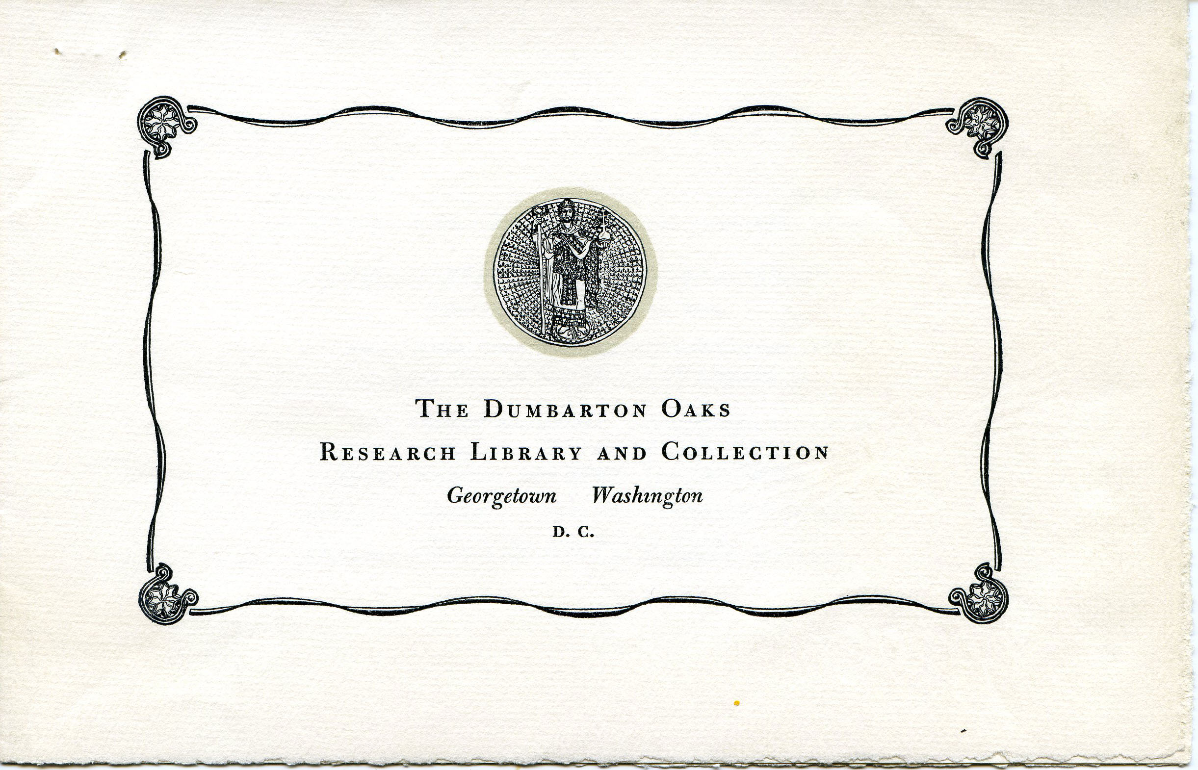 Invitation to Inaugural Lectures, November 2-3, 1940 (Dumbarton Oaks Archives)