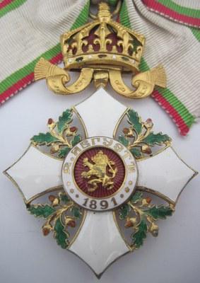 Reverse side of the pendant Bulgarian Grand Cross badge of the Royal Order for Civil Merit