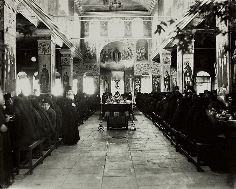 Monks eating in the refectory (interior of the Trapeza, looking West), St. Panteleimon Monastery