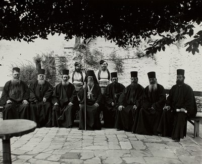 Group portrait with Protos and the monastic government, Karyes, Mount Athos