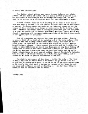 Letter from Bellinger to Blisses, Jan. 1941