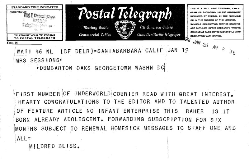 Jan. 20, 1941 Telegraph