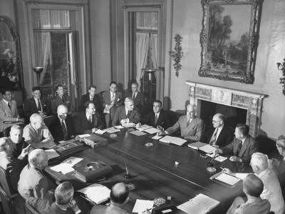 British Delegation Meeting in what is now the Director's Office at Dumbarton Oaks