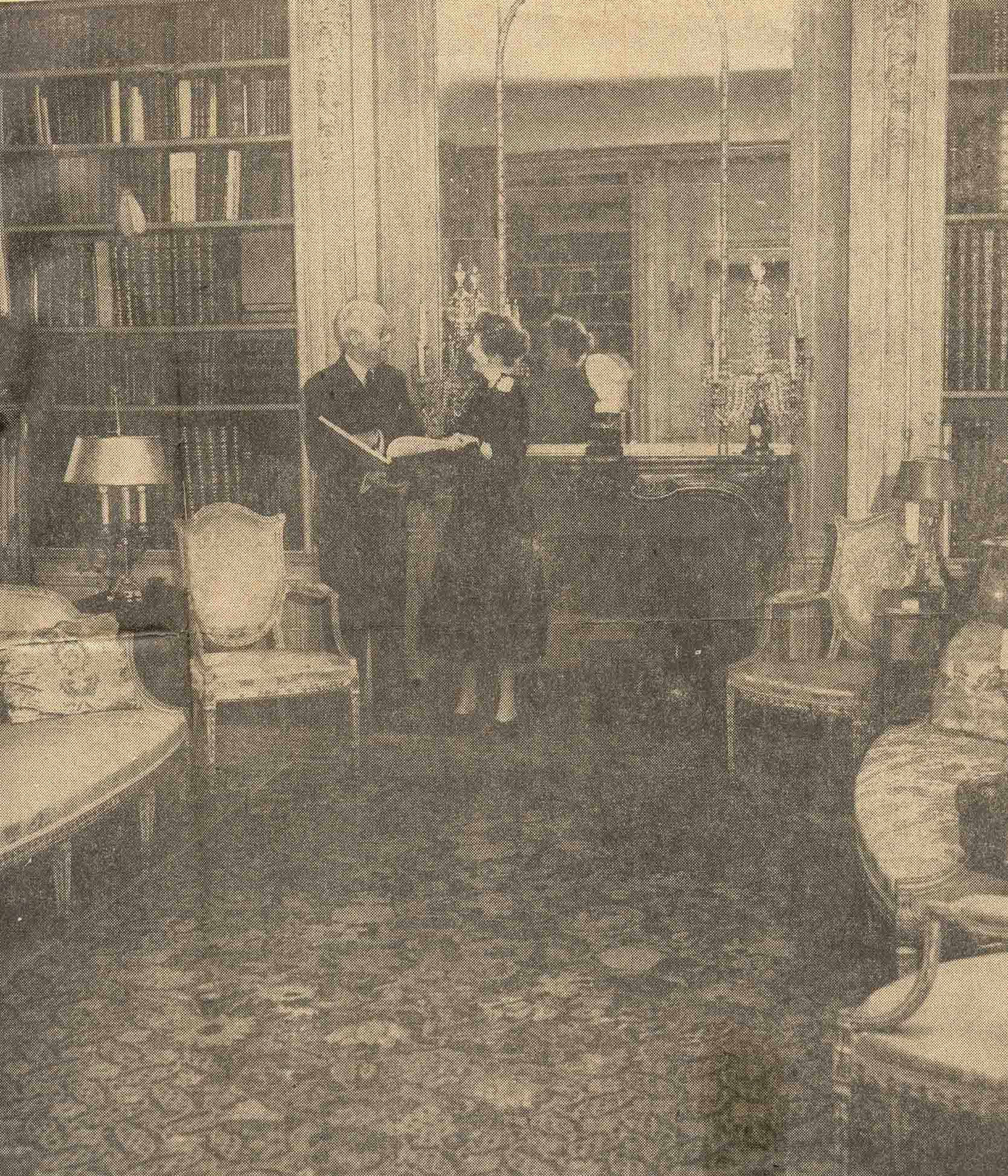 Mildred Robert Woods Bliss in the Dumbarton Oaks Founders Room with the rare book collection, March 2, 1956 (Sunday Star)