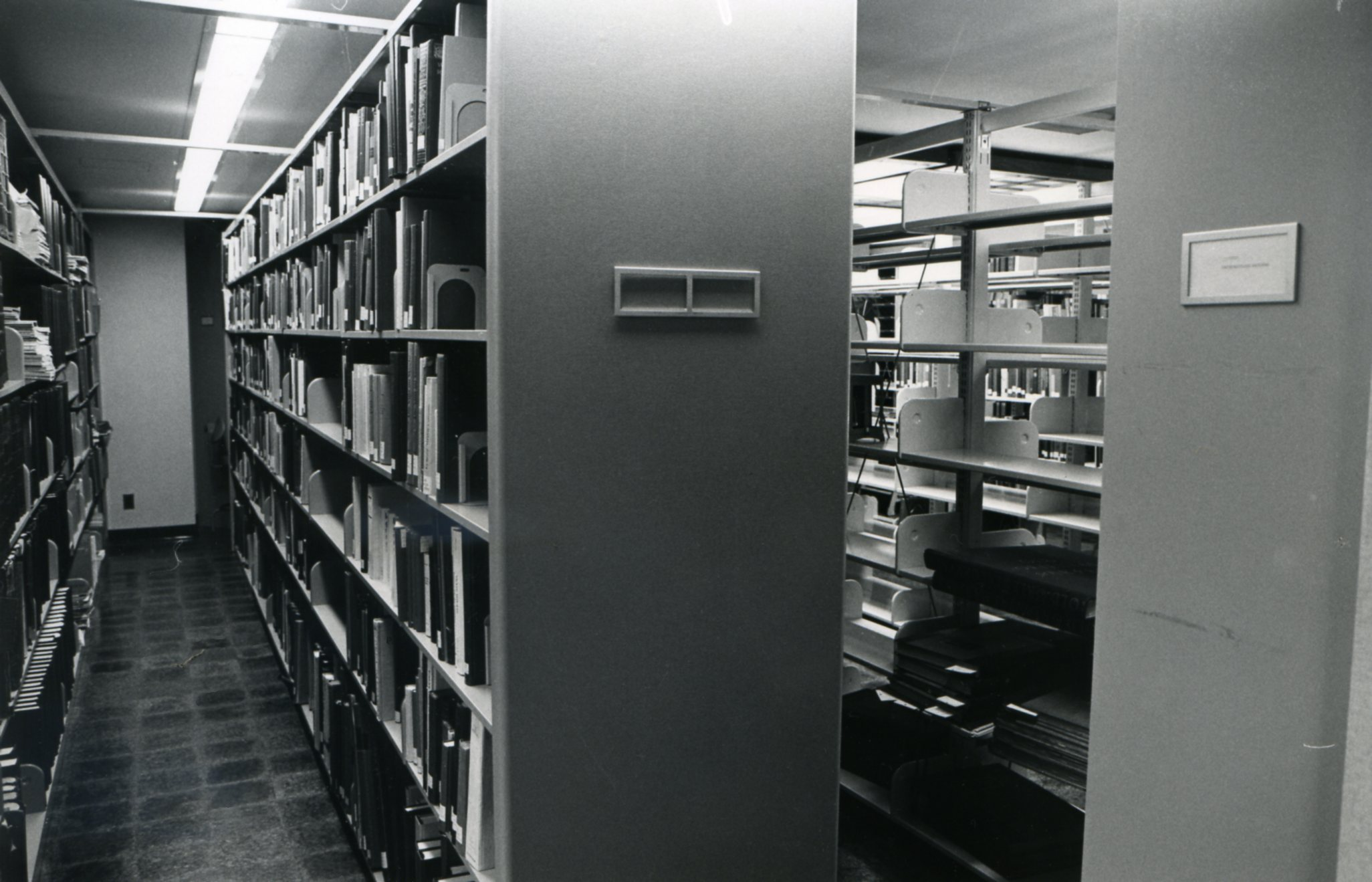 Library stacks in the basement of the former Garden Library, 1979