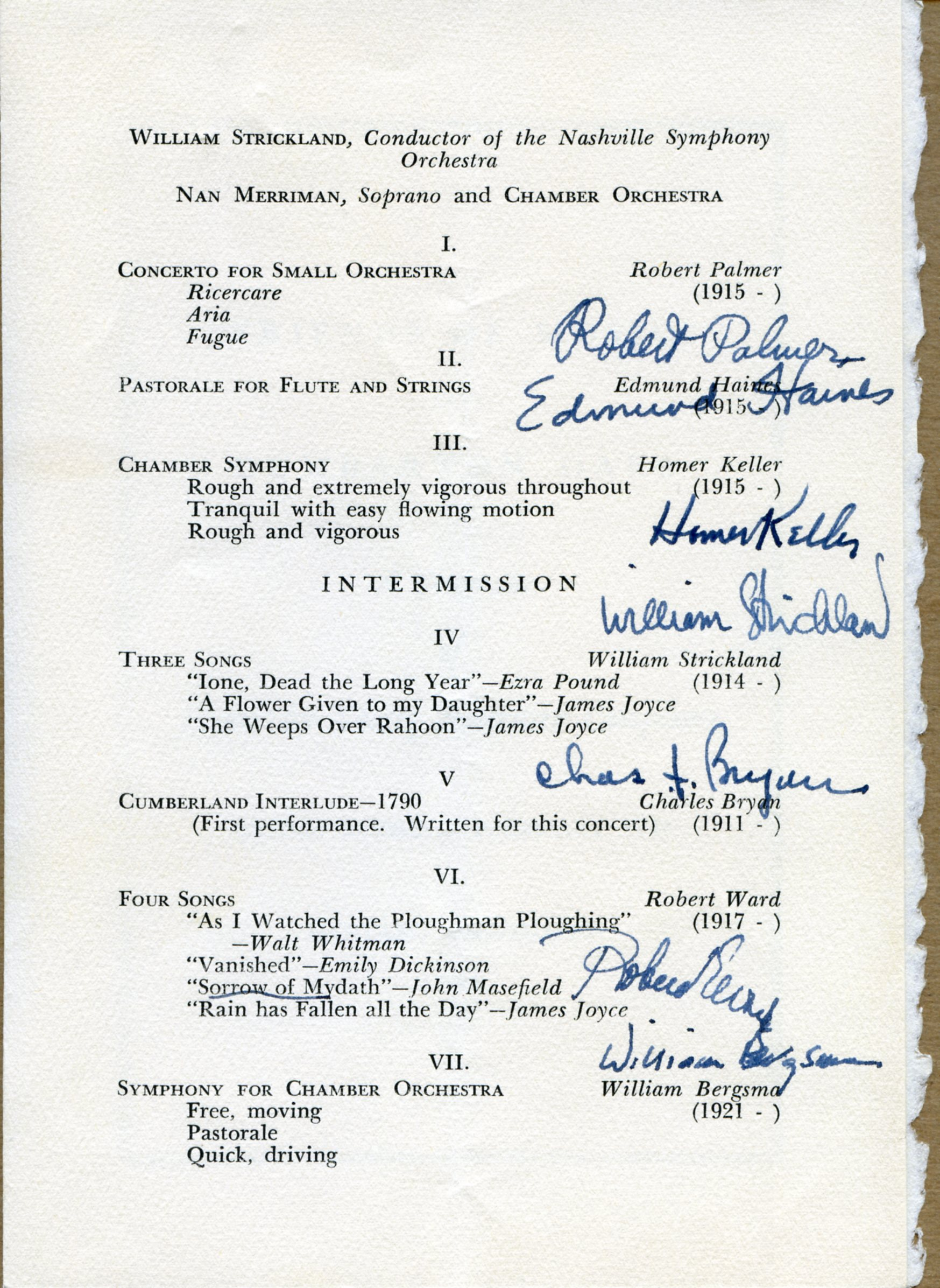 """Friends of Music Concert """"A Program of Music by Young American Composers,"""" February 7, 1940"""