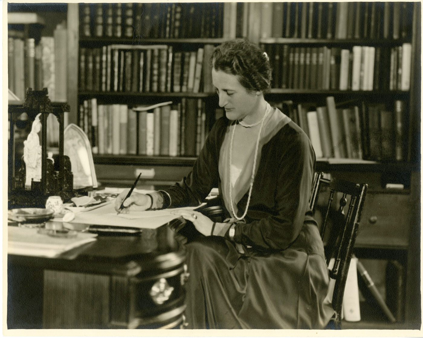 Beatrix Farrand at her Reef Point, Maine library