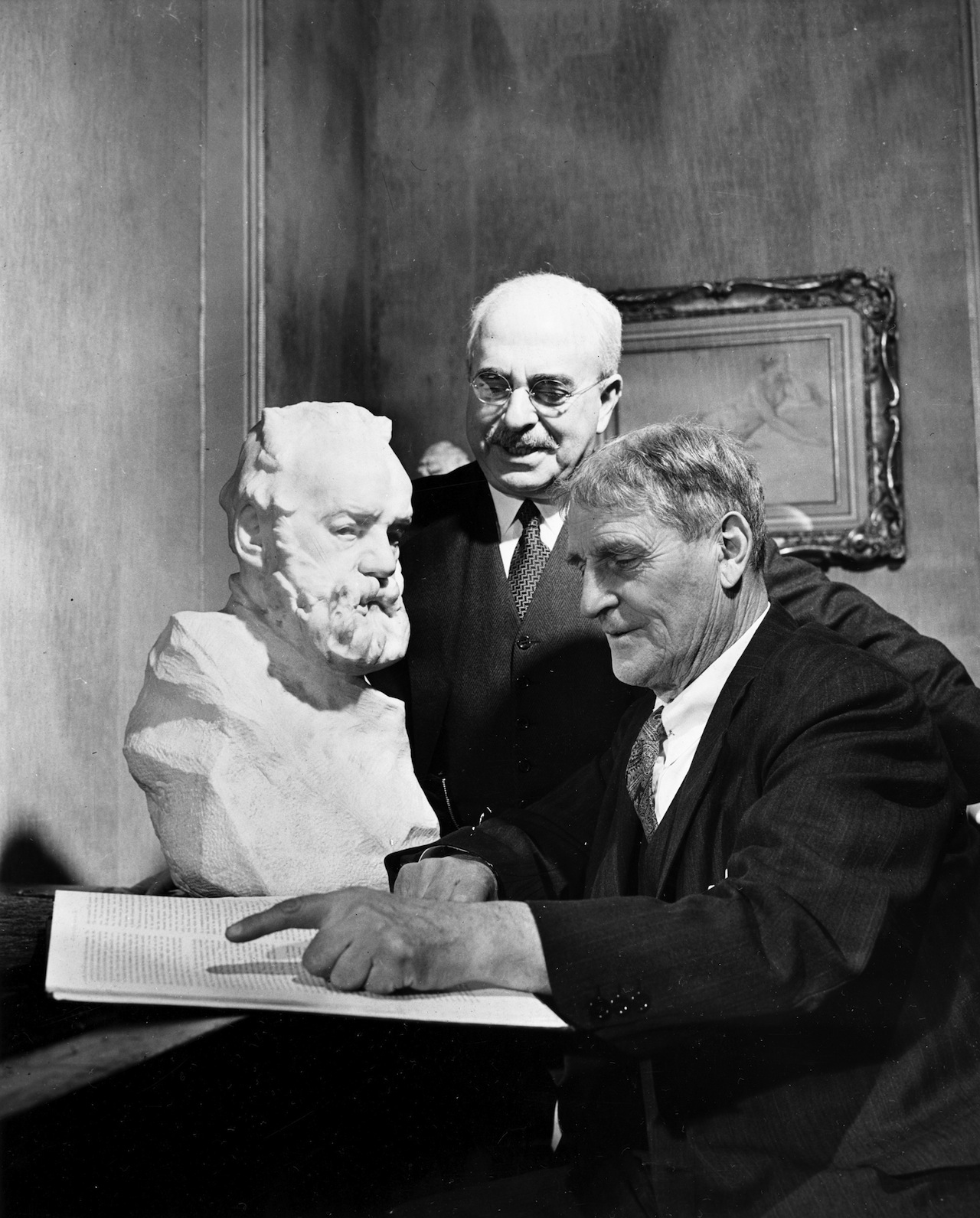 Edward Waldo Forbes (1873-1969) and Paul J. Sachs with a bust of Victor Hugo