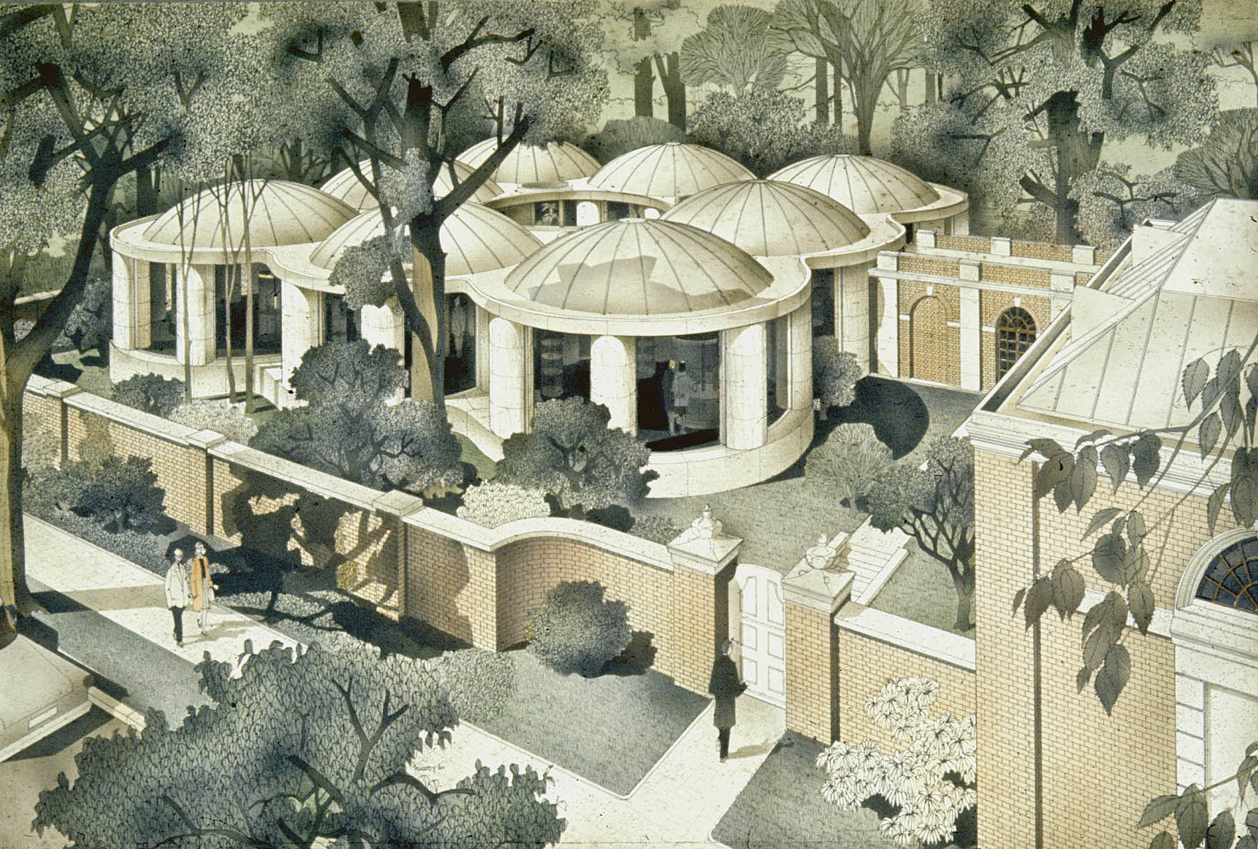 Helmut Jacoby for Philip Johnson Associates - Architects, Pre-Columbian Pavilion, Watercolor, 1960
