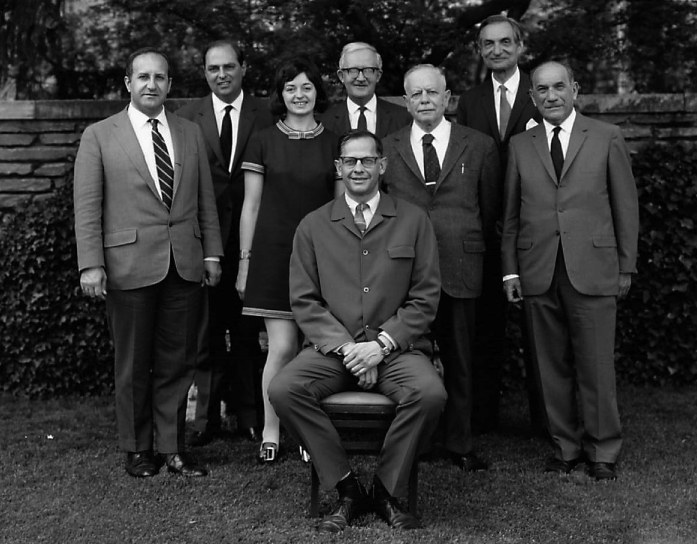 1970 Byzantium and Sasanian Iran symposium speakers, left to right, Irfan Shahîd, A.D.H. Bivar, Averil Cameron, Philip Grierson, Andreas Alföldi, Richard Ettinghausen, Elias J. Bickerman, Richard Frye (seated)