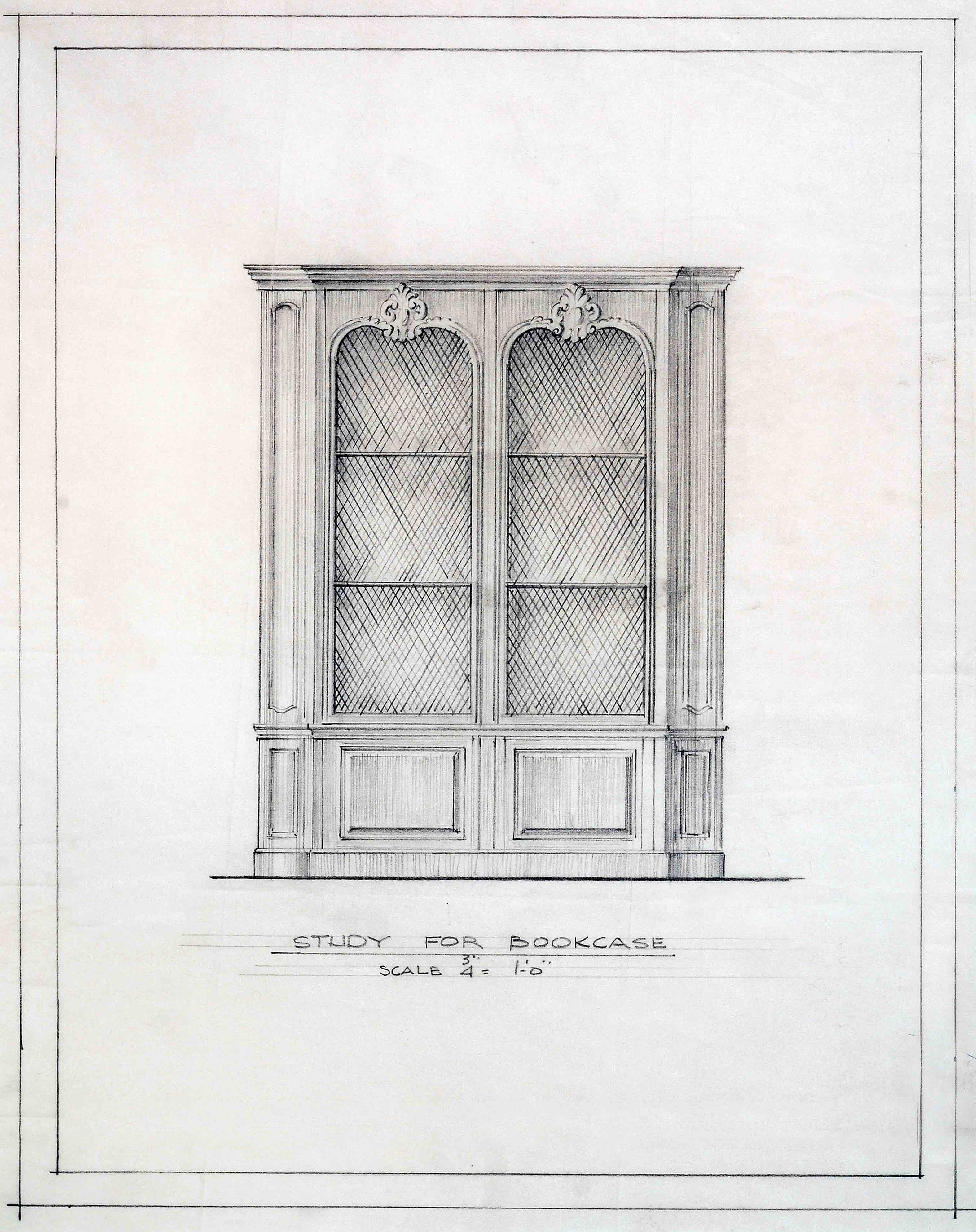 Frederic Rhinelander King study for bookcase design