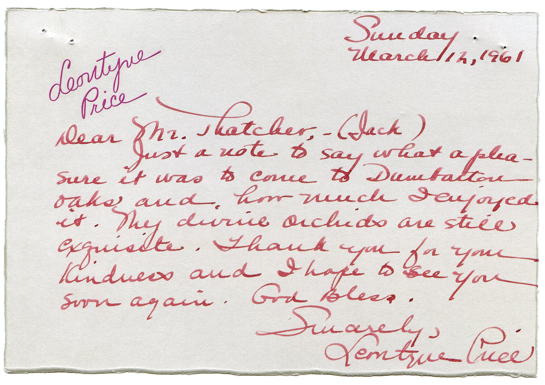 Letter from soprano Leontyne Price to John Thacher after her Friends of Music concert at Dumbarton Oaks on March 9, 1961