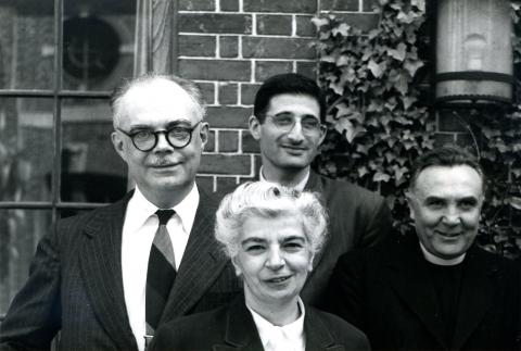 Sirarpie Der Nersessian and, left to right, André Grabar, Paul Alexander, and Father Francis Dvornik