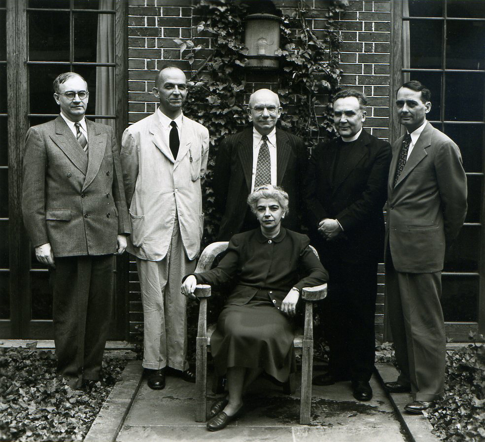 Speakers at the 1948 Symposium: Sirarpie Der Nersessian, symposiarch, seated, Milton Anastos, Glanville Downey, Albert M. Friend, Jr., Father Francis Dvornik, and Paul Underwood