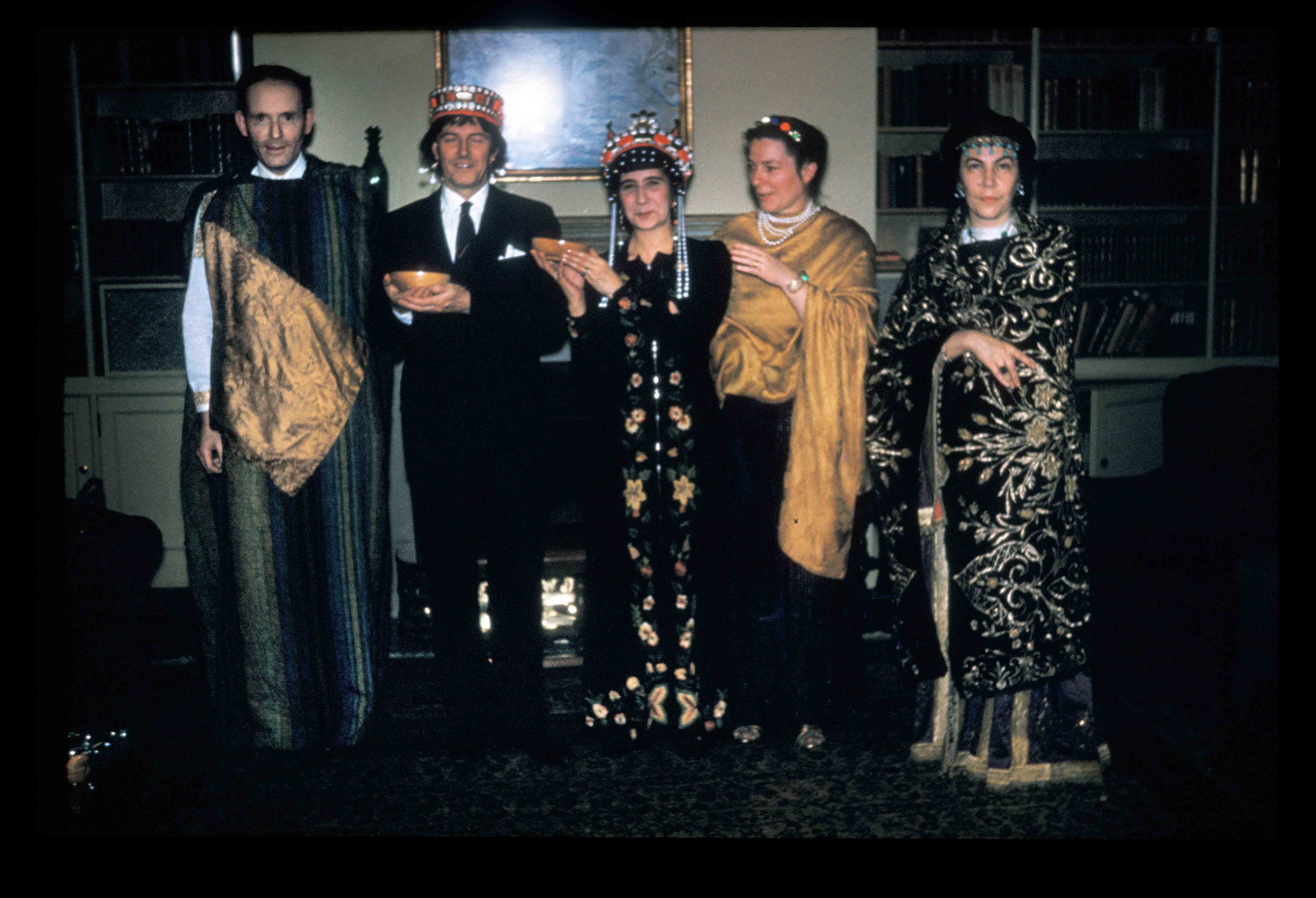 The Ravenna Group – Ernst Kitzinger as Justinian, Peter Megaw wearing Justinian's crown, Electra Megaw as Theodora, and Susan Kitzinger and Seka Allen as attendants in Theodora's retinue