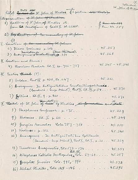 Fontes - List of illuminations and primary texts related to the monastery of St. John of Studios