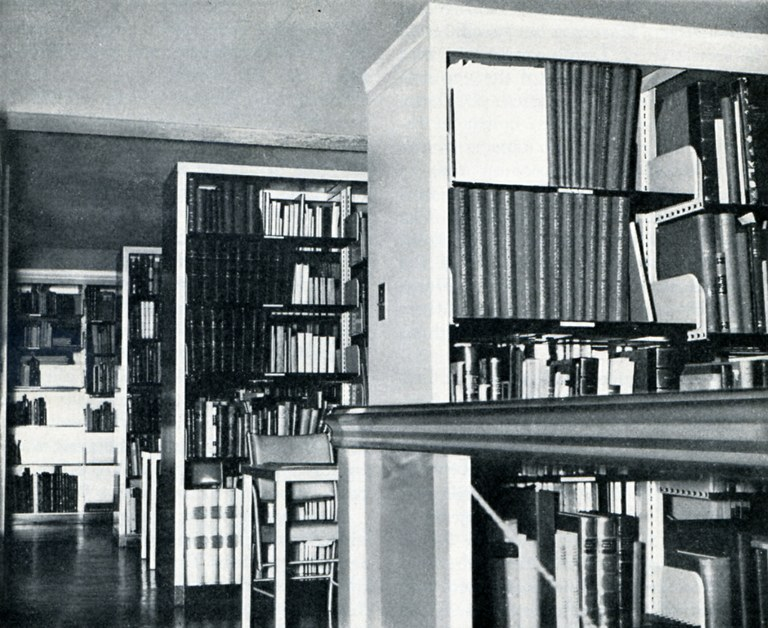 Book stacks and work tables, Byzantine library wing, 1941