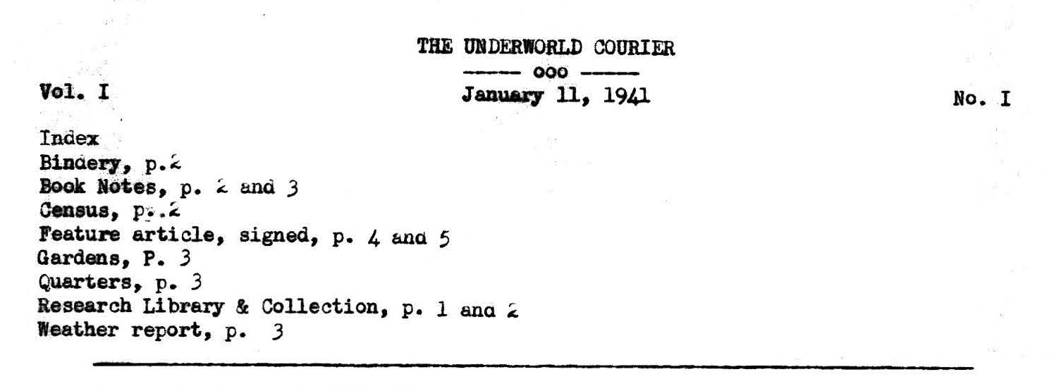 The Underworld Courier Vol. I, No. I (January 11, 1941)