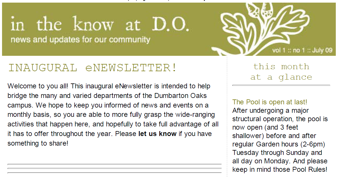 In the Know at D.O. Newsletter, Vol 1, No. 1 (July 2009)