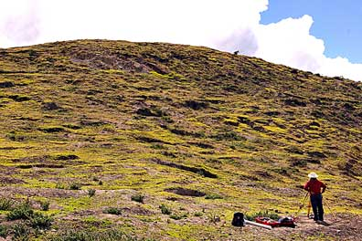 Fig. 2: The pockmarked surface of Cerro Narrío, southwest side (Raymond and Delgado 2008–2009)