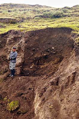 Fig. 5: West side of Cerro Narrío showing scar where backhoe removed earth (Raymond and Delgado 2008–2009)