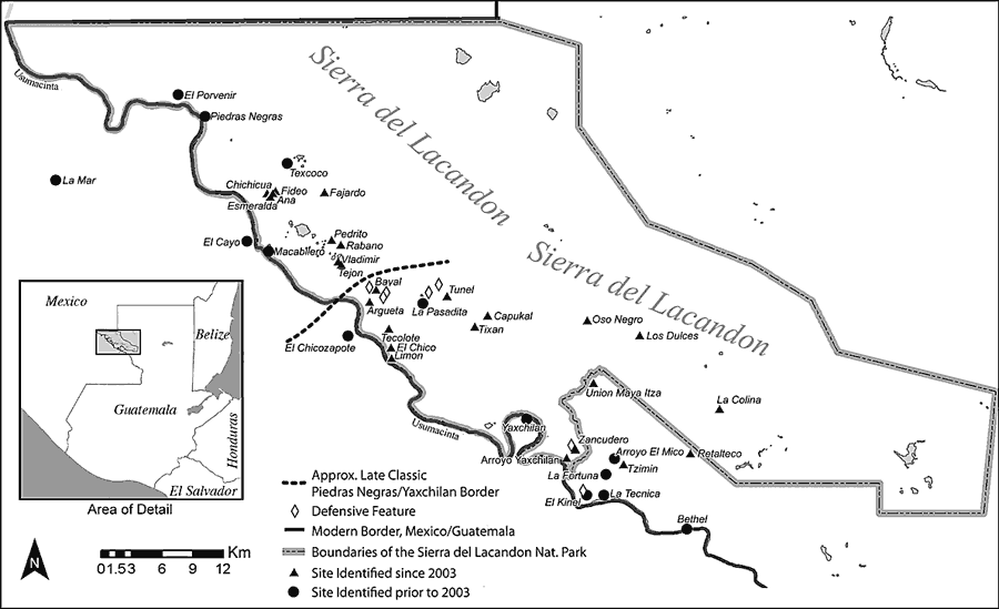 Fig. 1: Study area, showing archaeological sites along the Usumacinta River in the Sierra del Lacandón National Park, Guatemala (Golden et al. 2004–2005)