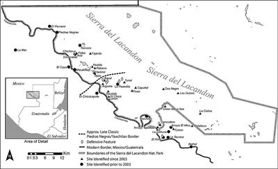 Fig. 1: Study area, showing archaeological sites along the Usumacinta River in the Sierra del Lacandón National Park, Guatemala (Golden et al. 2004–2005)
