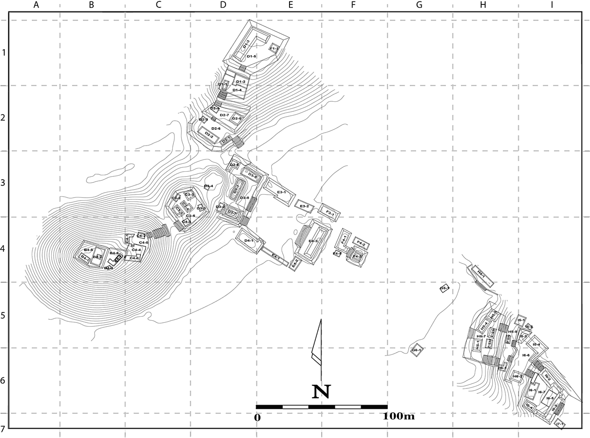 Fig. 2: Map of Tecolote as of 2004. Large areas of settlement and monumental architecture have been identified but not yet included on this map. Str. D3-1 is located atop the platform at the northwest of the formal patio in the center of the map (map produced by Matthew Liebmann).
