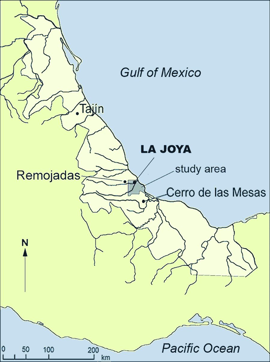 Fig. 1: Location of La Joya in the Lower Cotaxtla basin in the central part of the state of Veracruz.